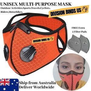 1 Set Washable Face Mask Orange Dual Valves Mesh
